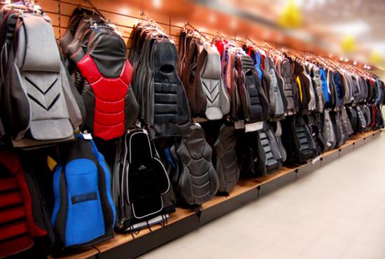 Sėdynių užvalkalai parduotuvėje